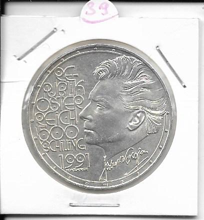 ANK Nr. 39 Herbert von Karajan 1991 500 Schilling Silber Normal