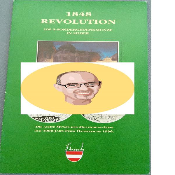 1994 100 Schilling - 1848 Revolution Erzherzog Johann silber nur Flyer Folder