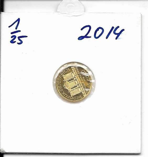 2014 Philharmoniker 1/25 Unze 4 € Euro 1,24 Gramm