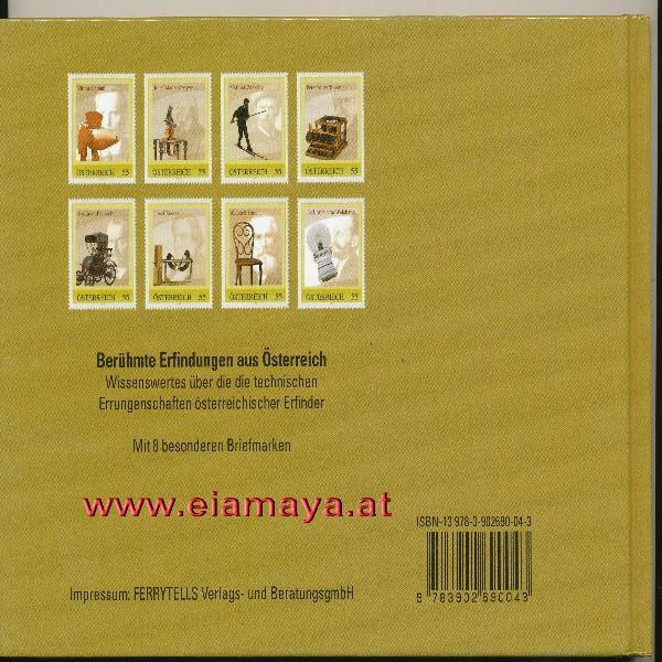 Briefmarkenbuch Berühmte Erfindungen aus Österreich mit 8 Briefmarken