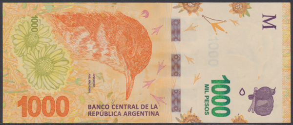 Argentinien – 1000 Peso (2017) (Pick 366) Erh. UNC