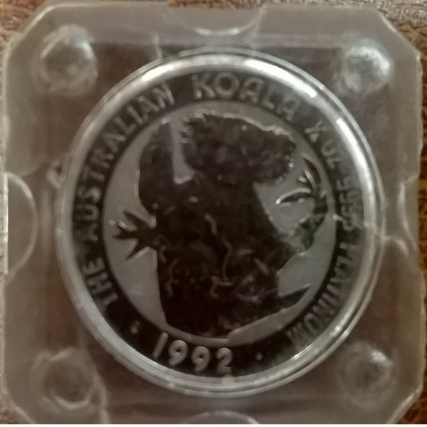 1/4 unze Platin Australien Koala 1992 25 Dollars