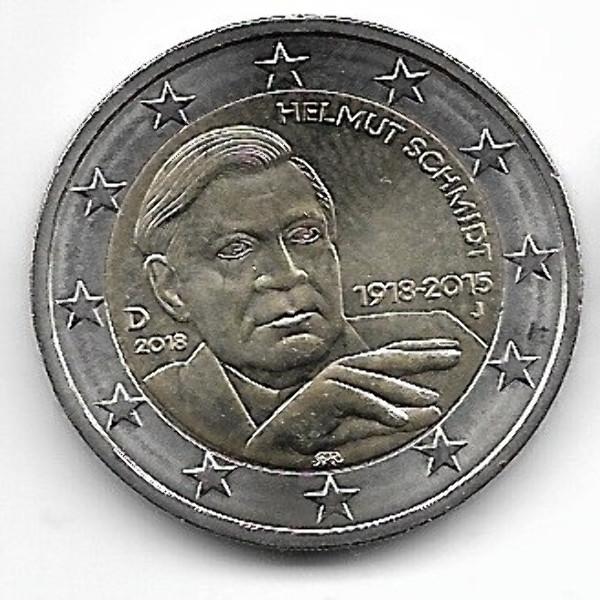 2 Euro Deutschland 2018 Schmidt alle 5 Prägestätten