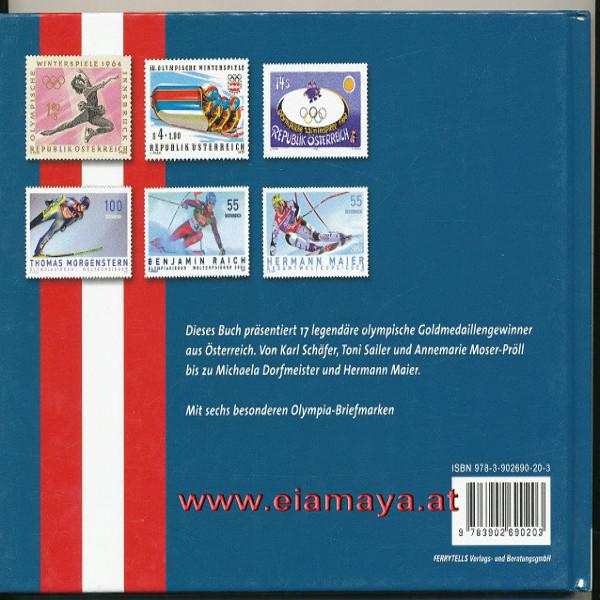 Briefmarkenbuch Olympische Wintersportlegenden aus Österreich mit 6 exklusive Marken