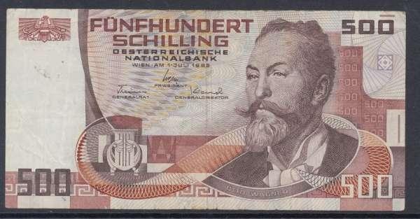 500 Schilling 1.7.1985 Otto Wagner gebraucht Nr:B985379P Pick 151
