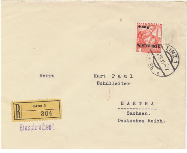 4.12.1935 Winterhilfe 2 Ausgabe 1 Schilling +50 Gr. Reco