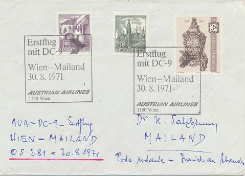 Erstflug Aua DC-9 Wien - Mailand 30.8.1971