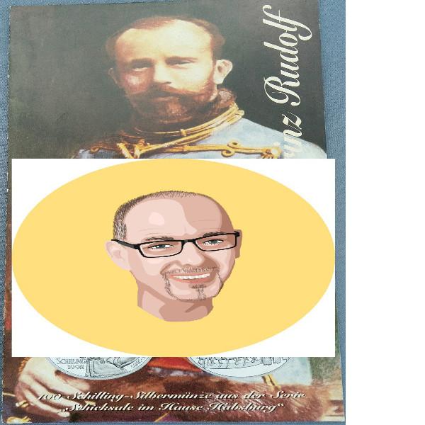 1998 100 Schilling Silber - Kronprinz Rudolf nur Flyer Folder