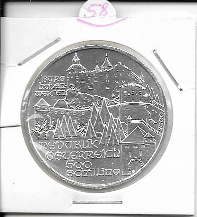 ANK Nr. 58 Burg Hohenwerfen 2000 500 Schilling Silber Normal