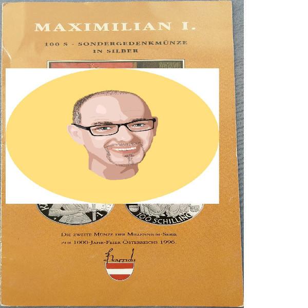 1992 100 Schilling - Maximilian I silber nur Flyer Folder