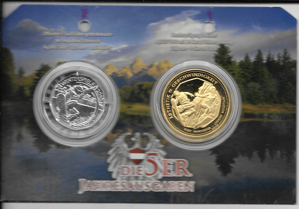 5 Euro 2010 Silber Winterspiele Snowboarder + Sonderprägung Silber 24 Karat vergoldet