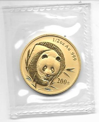 China 2003 Gold 1/2 oz Panda 200 Yuan