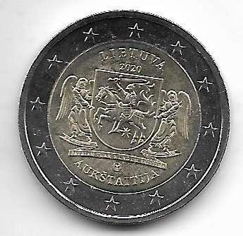 2 Euro Litauen 2020 Litauische Regionen Aukstaitija
