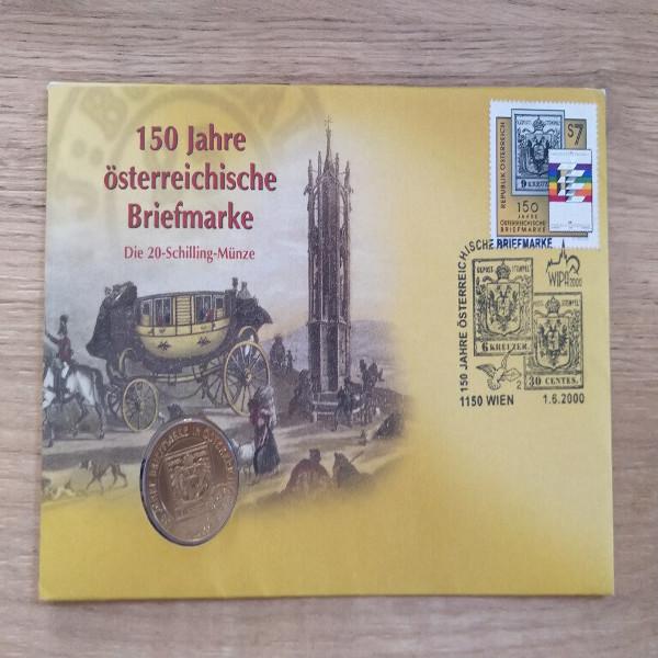 NB 3 150 Jahre österreichische Briefmarke 2000 mit 20 Schilling Münze Numisbrief