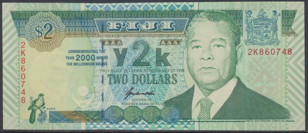 Fiji - 2 Dollars 2000 UNC - Pick 102