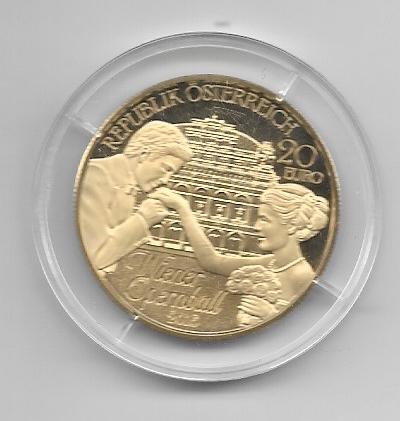 20 EURO Silber 206 Wiener Opernball 24 Karat Vergoldet