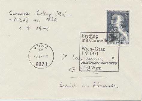 Caravelle Erstflug Aua Wien - Graz 1.9.1971