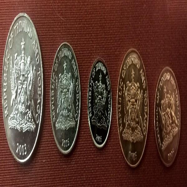 50, 25, 10, 5, 1, Cents Trinitad and Tobago unc.