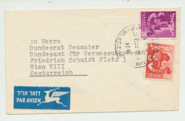 Flugpost Brief Israel Wien 1957