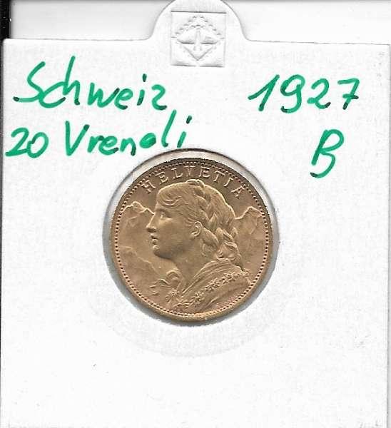20 Franken 1927 B Vreneli Schweiz Gold