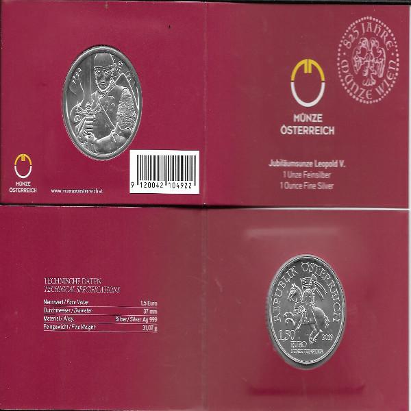 Österreich - 1,5 Euro 2019 - Leopold V - 825 Jahre Münze Wien - 1 Oz. Silber im Blister