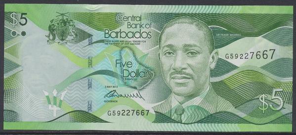 Barbados - 5 Dollars 2013 UNC - Pick 74