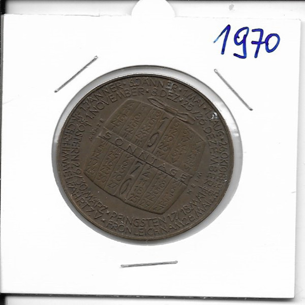 Kalendermedaille Jahresregent 1970 Bronze