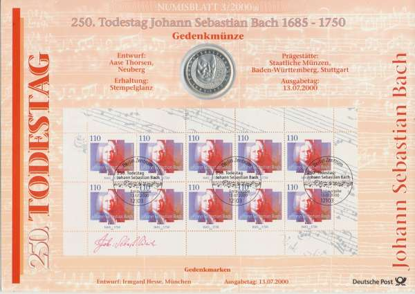"""Numisblatt Deutschland 2000/3 """"250 Todestag Johann Sebastian Bach 1685-1750"""" mit 10DM Silbermünze"""