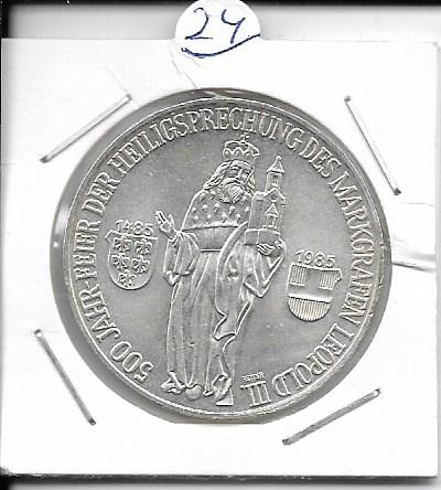 ANK Nr. 24 500 J. Heilligsprechung Marktgraf Leopold III 1985 500 Schilling Silber Normal