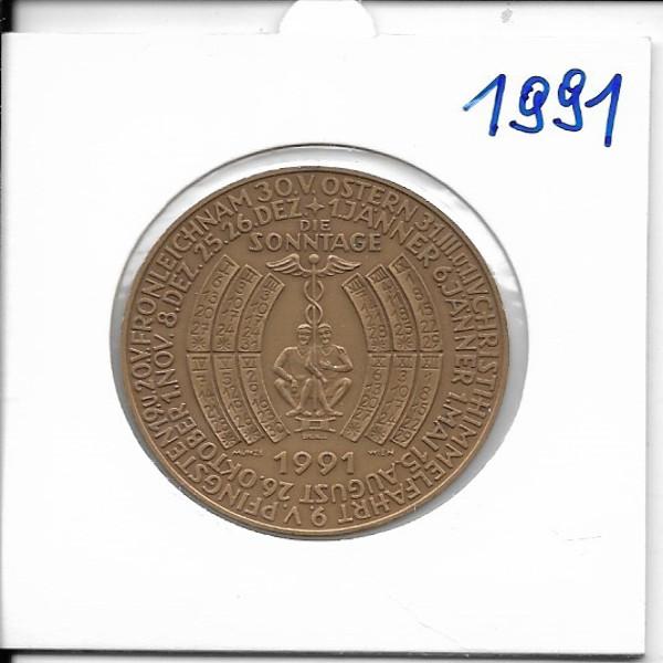 Kalendermedaille Jahresregent 1991 Bronze