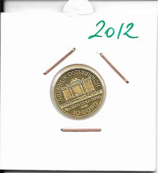 2012 Philharmoniker 1/10 Unze 10 € Euro 3,11 Gramm