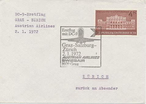 Erstflug Aua DC-9 Graz - Salzburg - Zürich 2.1.1972