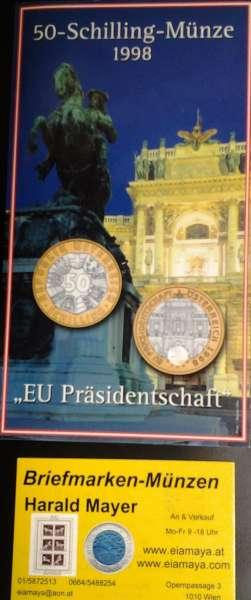 50 Schilling 1998 EU-Präsiidentschaft Blister HgH Bimetall