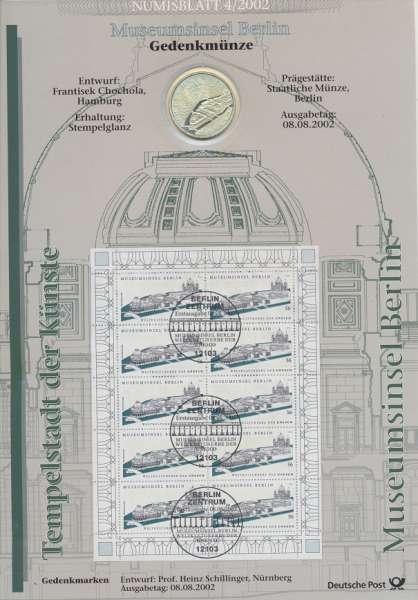 """Numisblatt Deutschland 2002/4 """"Museumsinsel Berlin"""" mit 10€ Silbermünze Gedenkmünze"""