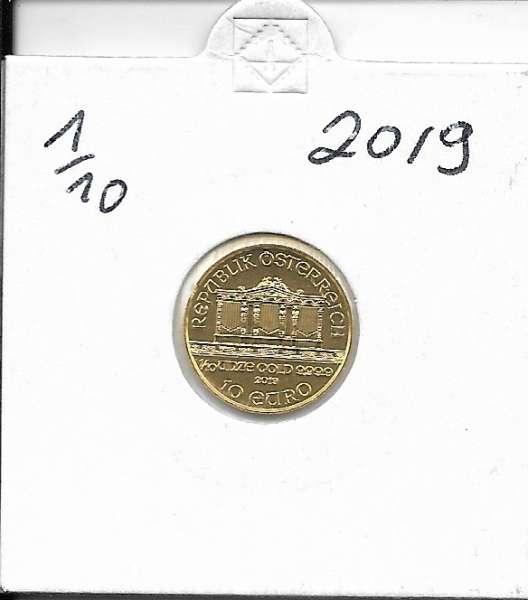 2019 Philharmoniker 1/10 Unze 10 € Euro 3,11 Gramm