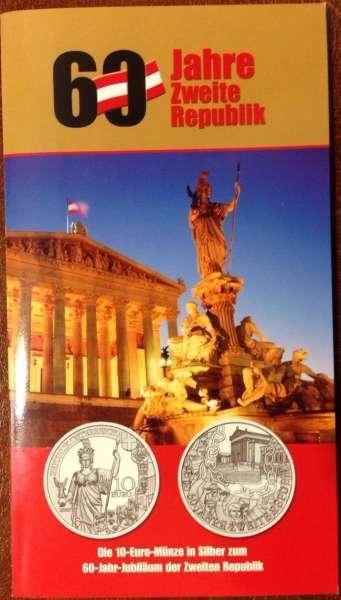 10 Euro Silber 2005 60 Jahre 2 Republik HgH ANK Nr. 07