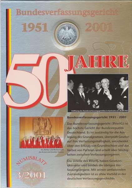 """Numisblatt Deutschland 2001/3 """"Bundesverfassungsgericht 1951-2001"""" mit 10DM Silbermünze Gedenkmünze"""