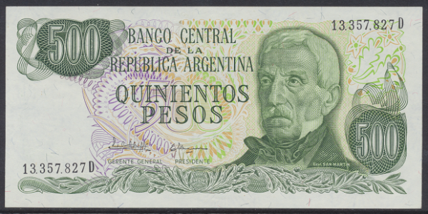 Argentinien – 500 Pesos (1977-82) (P.303) Erh. UNC