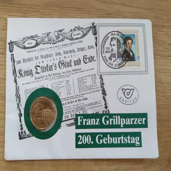 NB 1 200 Geburtstag Franz Grillparzer 1991 mit 20 Schilling Münze Numisbrief
