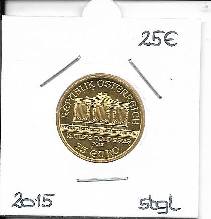 2015 Philharmoniker 1/4 Unze 25 € Euro 7,78 Gramm