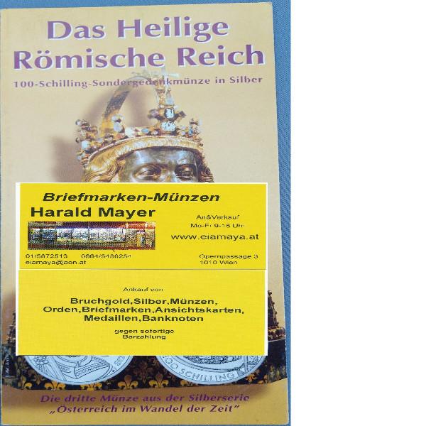 Das Heilige Römische Reich 2001 100 Schilling Silber - nur Flyer Folder