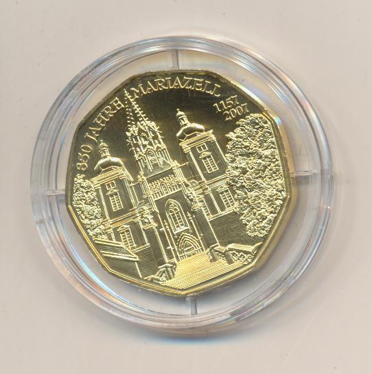 ANK Nr.10 24 Karat vergoldet 2007 850 Jahre Mariazell 5 Euro Silber
