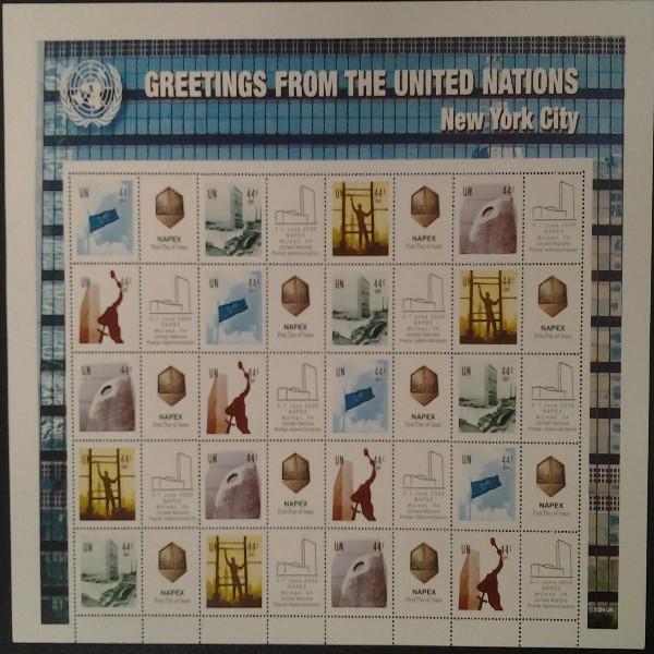 UNO New York GRUSSMARKEN 44 C BOGEN 1 version 2009 Postfrisch (16)