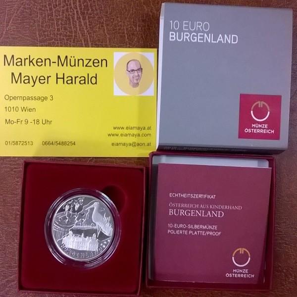 10 Euro Silber 2015 Burgenland PP ANK. Nr.28