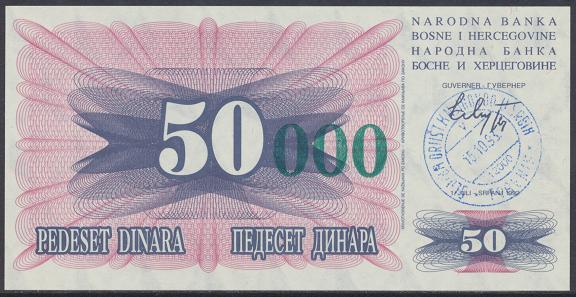 Bosnien Herzogowina- 50 000 Dinara 15.10.1993 unc - Pick Nr.55a Grün