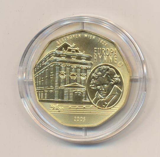 ANK Nr.06 24 Karat vergoldet 2005 Europahymne Ludwig van Beethoven 5 Euro Silber