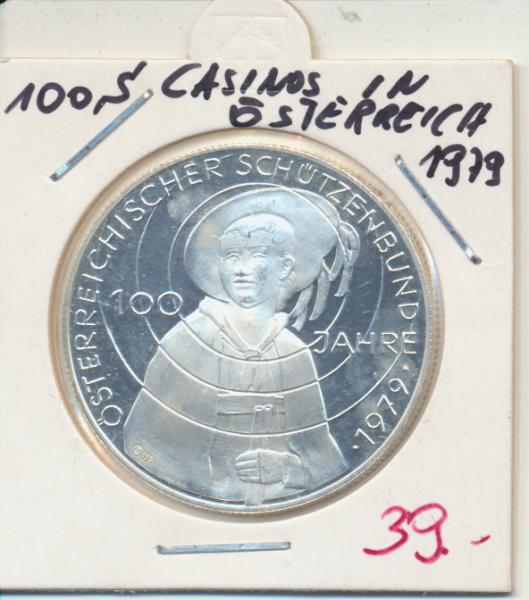 Casino Jeton 100 Schilling 100 Jahre Schützenbund 1979 Casinos Österreich Silber