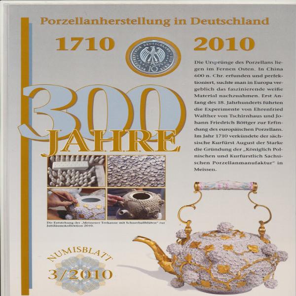 """Numisblatt Deutschland 3/2010 """"300 J. Porzellanherstellung"""" mit 10-€-Silbermünze"""