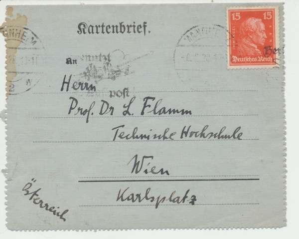 Kartenbrief Deutsches Reich 15Pf. 1928