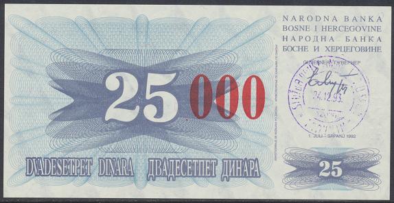 Bosnien Herzogowina- 25 000 Dinara 24.12.1993 unc - Pick Nr.54d Rot